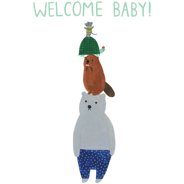 Animal Tower New Baby Greeting Card - Roger La Borde by Kate Pugsley