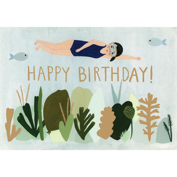 Swimmer Birthday Greeting Card - Roger La Borde by Kate Pugsley
