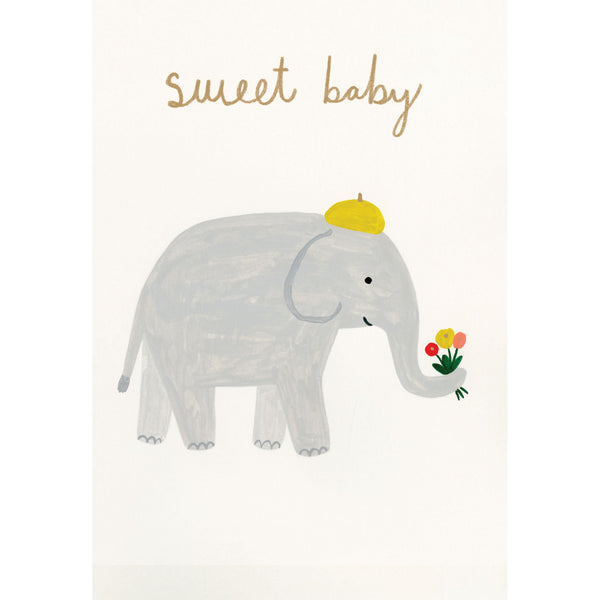 Sweet Baby Elephant Greeting Card - Roger La Borde by Kate Pugsley