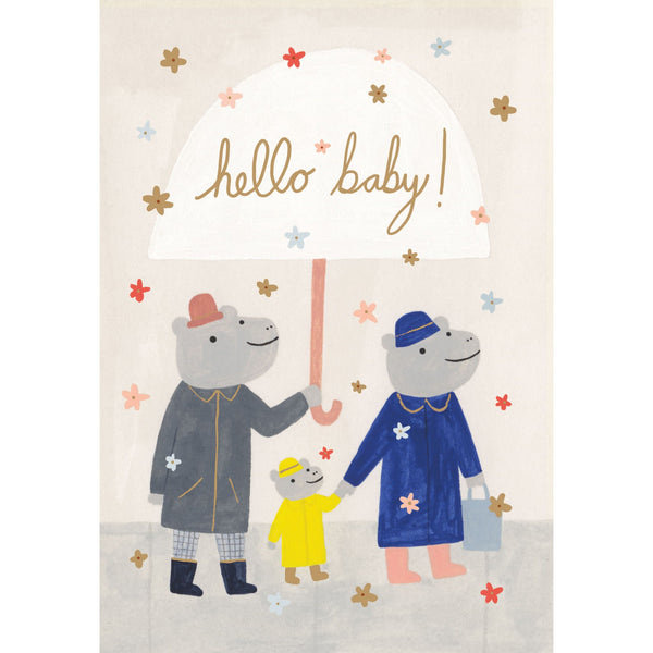 Rhinos Baby Greeting Card - Roger La Borde by Kate Pugsley