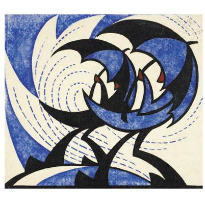 Gale Linocut Card - Art Angels by Sybil Andrews