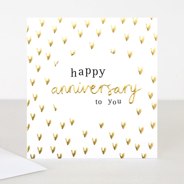 Mini Hearts Happy Anniversary Card - Caroline Gardner