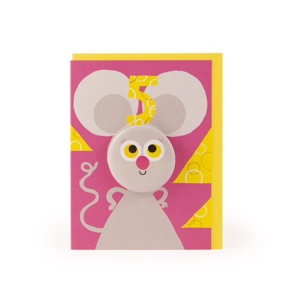 Age 5 Mouse Hoot Parade Badge Card - U Studio by Rob Hodgson