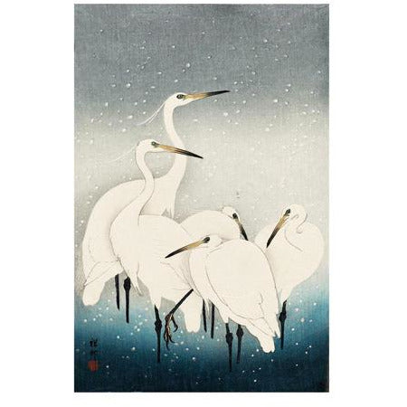 Herons in the Snow Woodcut Card - Art Angels by Ohara Koson