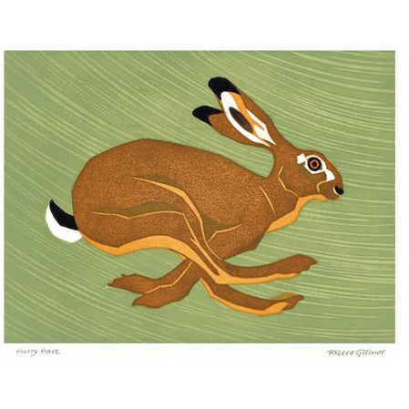 Hurry Hare Linoprint Card - Art Angels by Robert Gilmor