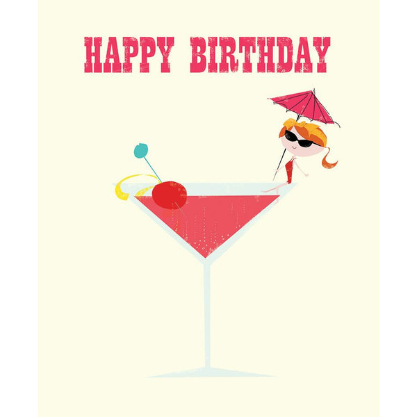 Cocktail Girl Birthday Card - The Art File