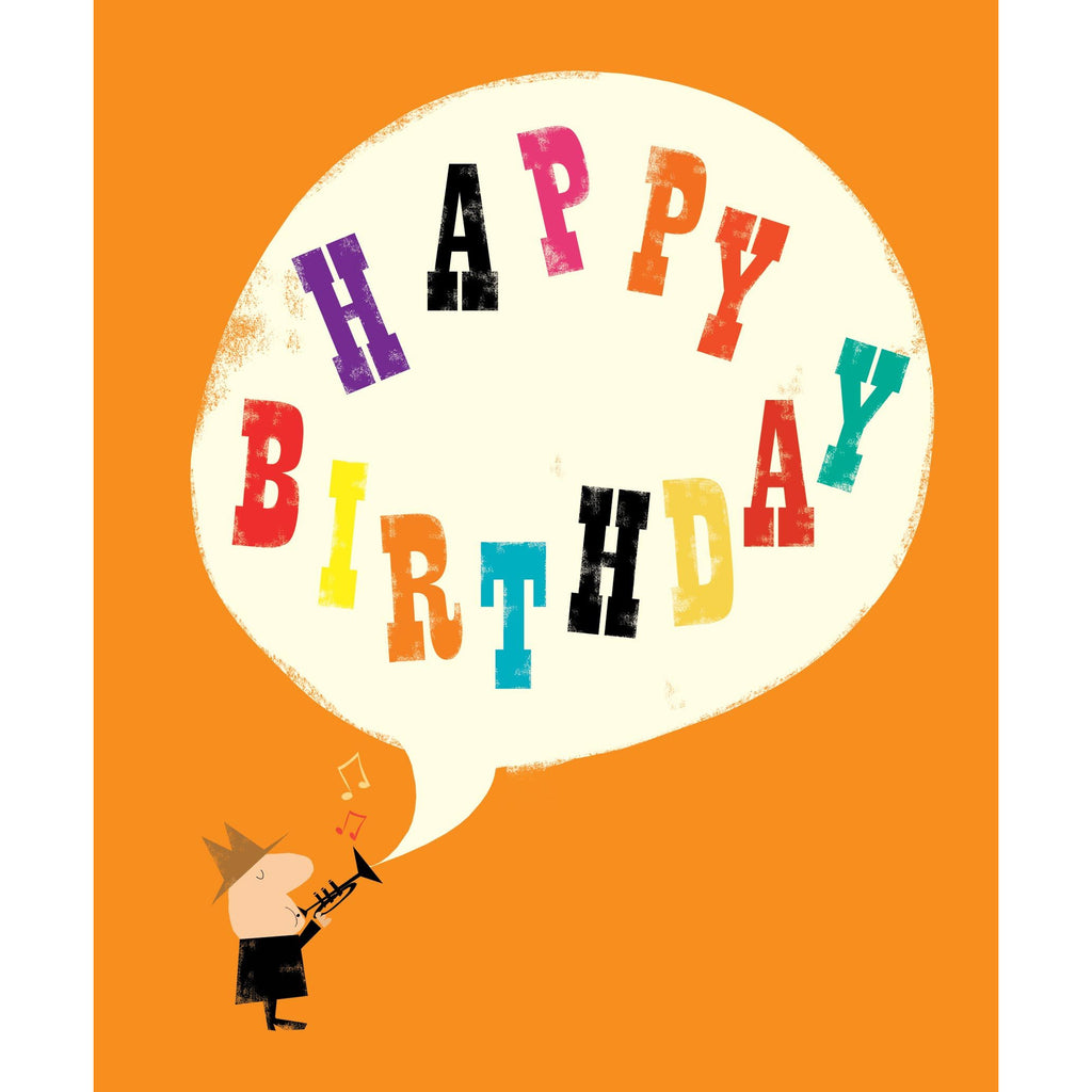Trumpet Player Happy Birthday Card - The Art File