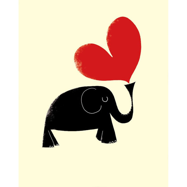 Elephant and Heart Greeting Card - The Art File