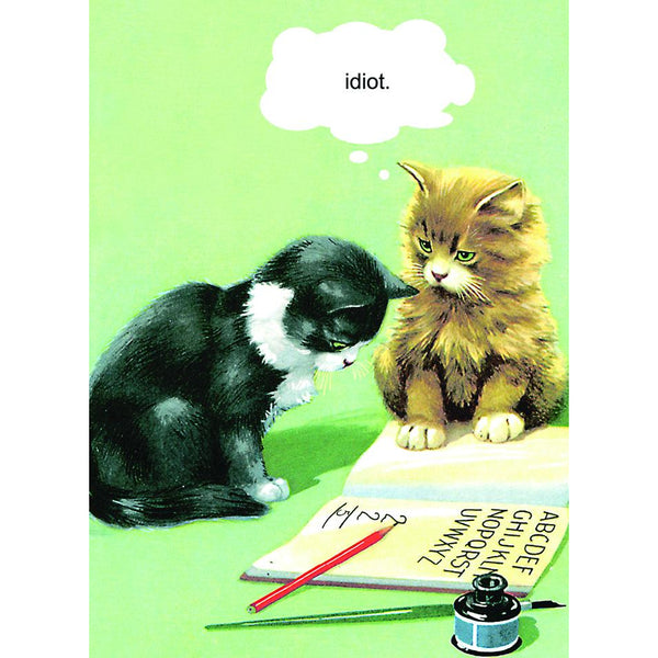 Ladybird Idiot Cat Greeting Card - Kiss Me Kwik