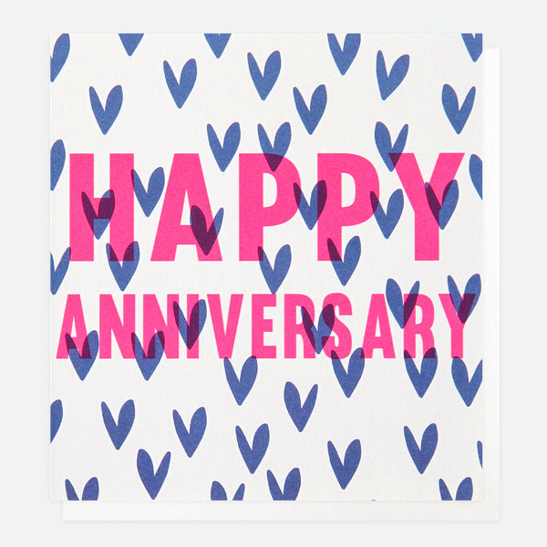 Neon Hearts Happy Anniversary Greeting Card - Caroline Gardner