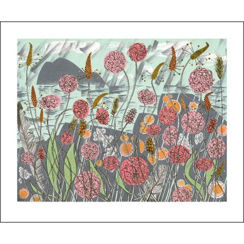 Lichen and Thrift Linocut Card - Art Angels by Angie Lewin