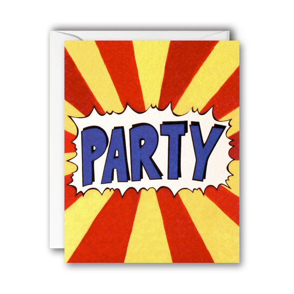 Party Red And Yellow Stripes Folded Notecards - James Ellis by Nicola Watson (Pack of 5)
