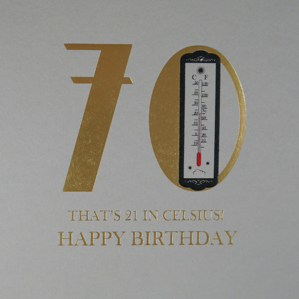 70th Birthday Celsius Greeting Card - Five Dollar Shake