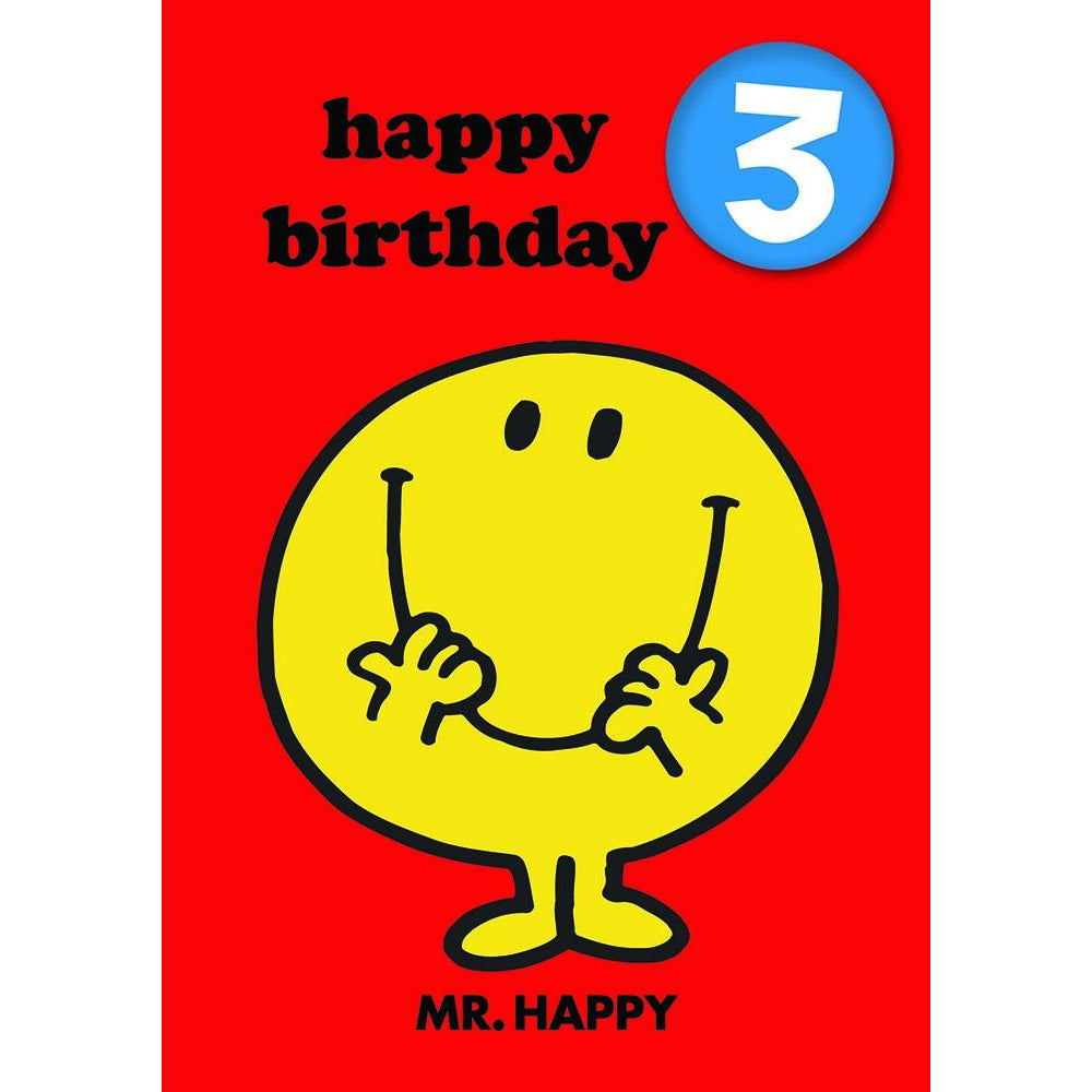 Mr Happy Age 3 Badge Birthday Card - Hype Cards