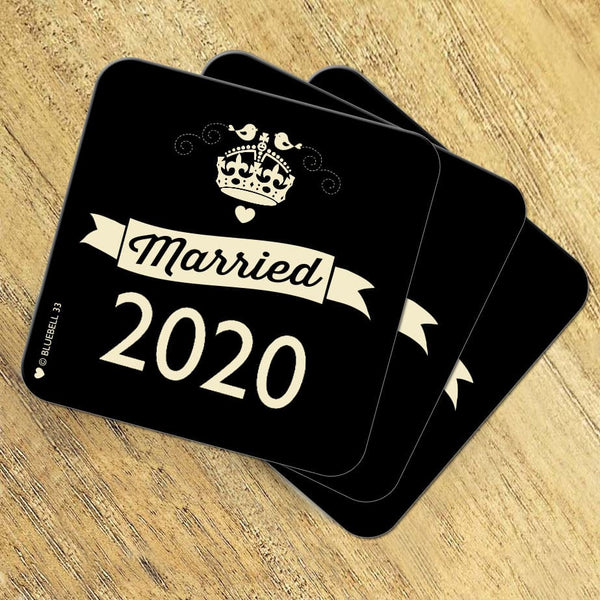 'Married in 2020' Scrabble Coaster - Bluebell 33