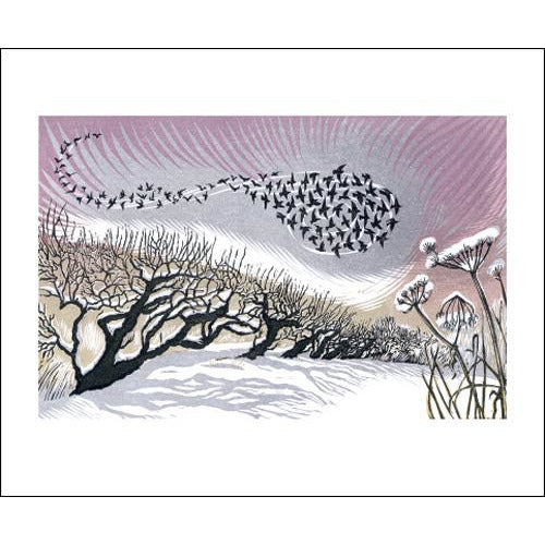 Mid Winter Starlings Linocut Card - Art Angels by Niki Bowers