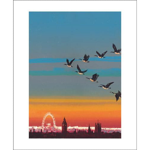 Migration Over Westminster Screenprint Card - Art Angels by Emma Reynolds