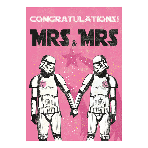Mrs and Mrs Greeting Card - Rocket 68 Stormtrooper