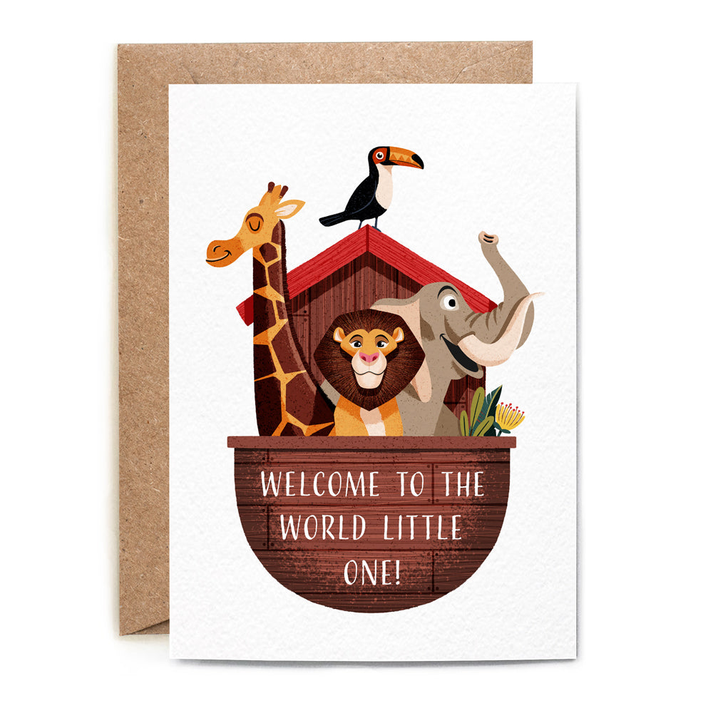 An elephant, giraffe, lion, parrot in the Ship of Noah.  'welcome to the world little one' written on the deck. base white