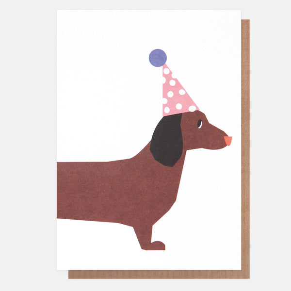 Neon Sausage Dog Party Greeting Card - Caroline Gardner