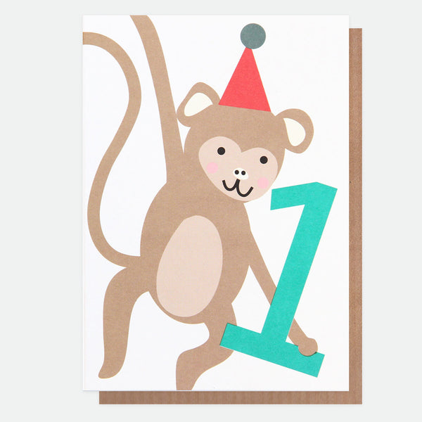 Monkey Boy 1st Birthday Card - Caroline Gardner