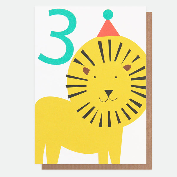Lion Boy 3rd Birthday Card - Caroline Gardner