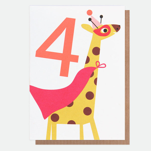 Giraffe Superhero 4th Birthday Card - Caroline Gardner