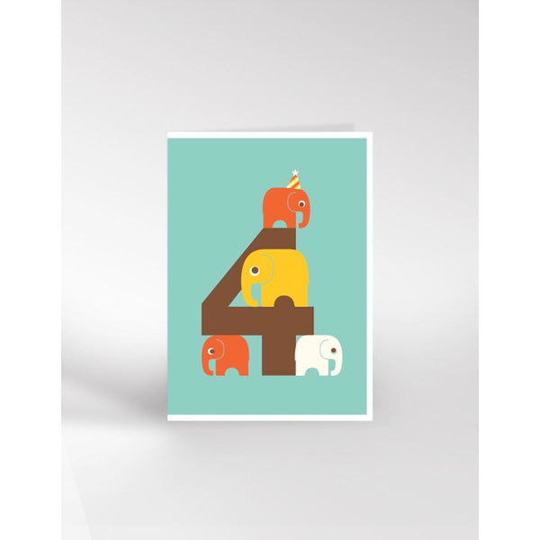 Elephant Age 4 Birthday Card - Dicky Bird