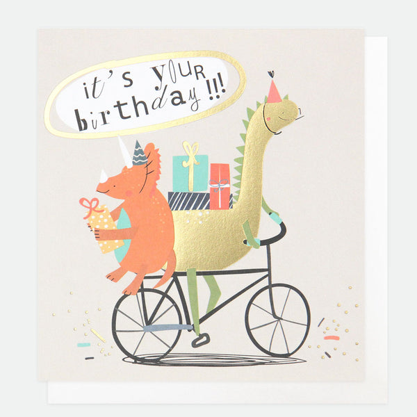 Dinosaur On Bike Birthday Card -Caroline Gardner