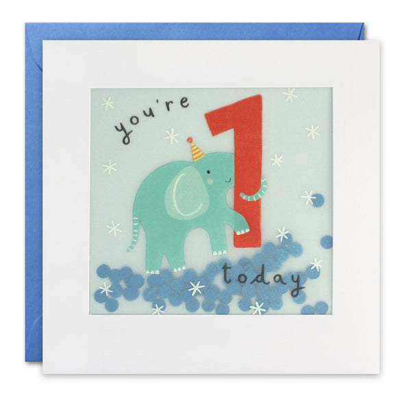 Age 1 Paper Shakies Elephant Card Greeting Card - James Ellis by Katherine Hartley