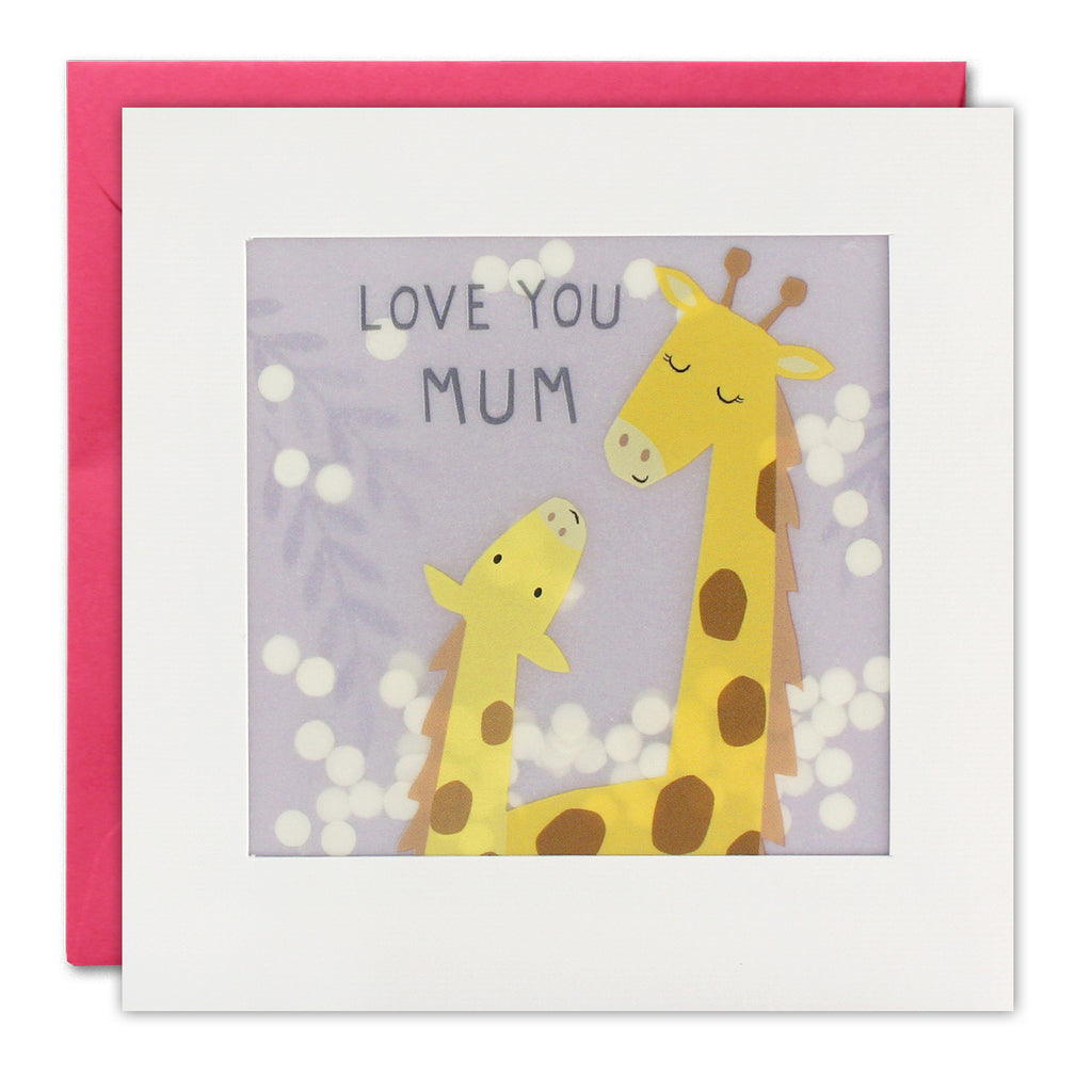 Love You Mum Giraffes Shakies Greeting Card - James Ellis by Katherine Hartley