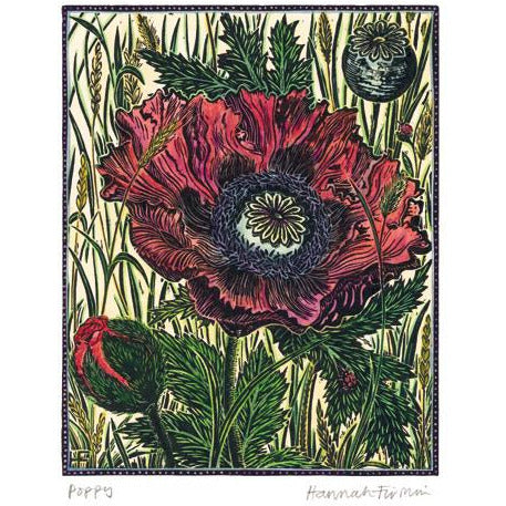 Poppy Linocut Card - Art Angels by Hannah Firmin