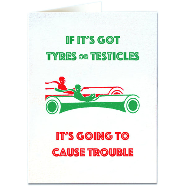 Tyres and Testicles Greeting Card - Archivist Press