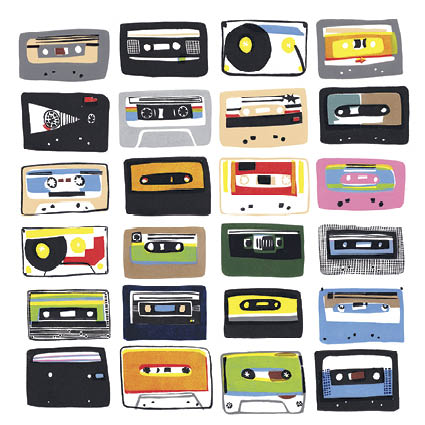Cassette Tapes Greeting Card - Artpress by Hannah Forward