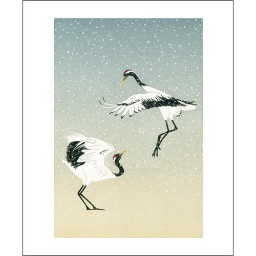 Red Crowned Cranes Linocut Card - Art Angels by Jenny Crocker