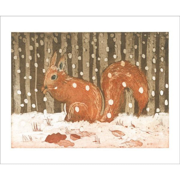Red Squirrel in Snow Etching Card - Art Angels by Lisa Hooper