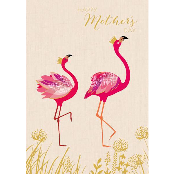 Flamingos Mother's Day Greeting Card - The Art File by Sarah Miller