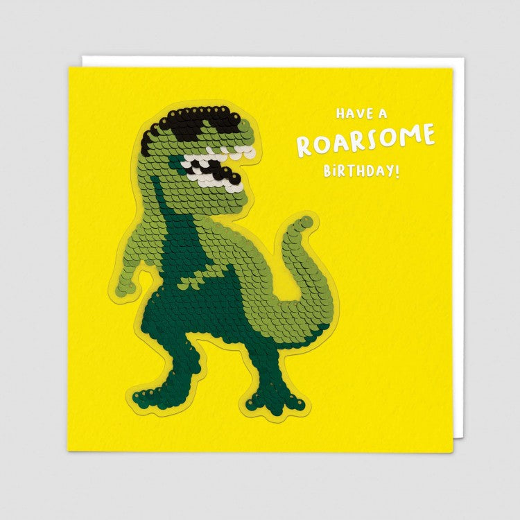 Roarsome Sequins Patch Greeting Card - Redback Cards