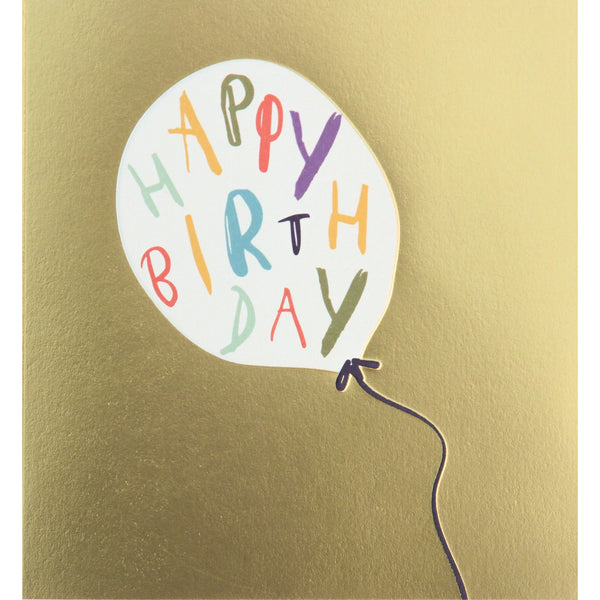 happy birthday written on the white balloon. base is gold