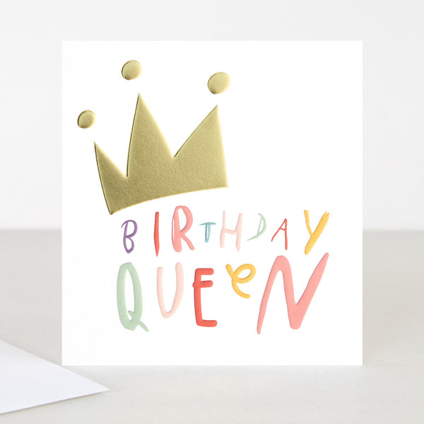 Birthday Queen writing with a gold crown on top. base white