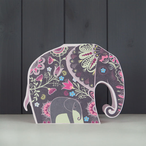 Elvira and Len Elephant Freestanding Die-Cut Card - Art Angels by Sarah Young
