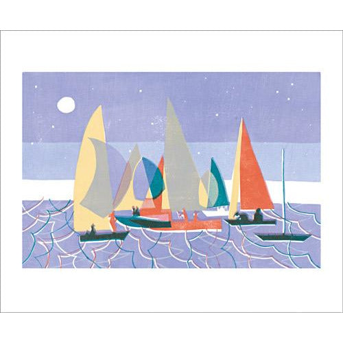 Sailing at Dusk Linocut Card - Art Angels by Lisa Takahashi