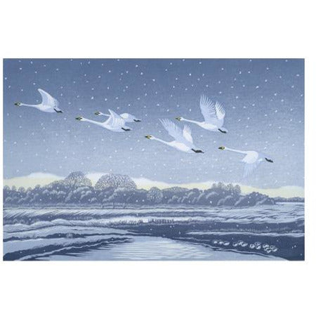 Snow Flight Linocut Card - Art Angels by Niki Bowers