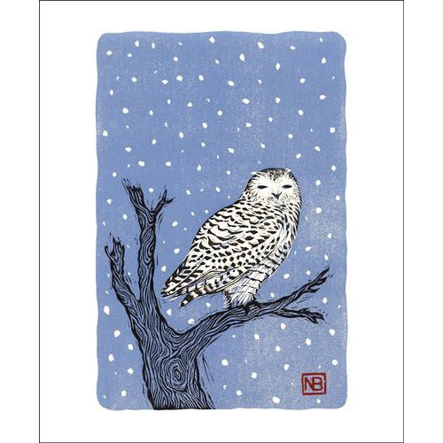 Snowy Owl Linocut Card - Art Angels by Neil Brigham