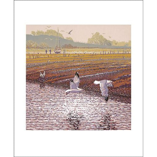 Estuary View Linocut Card - Art Angels by Mark Pearce