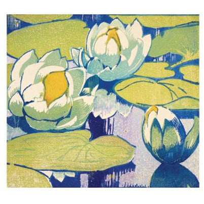 Water Lillies Woodcut Card - Art Angels by Mabel Royds