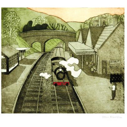 Weybourne Railway Station Etching Card - Art Angels by John Brunsdon