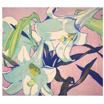 White Lillies Woodcut Card - Art Angels by Mabel Royds
