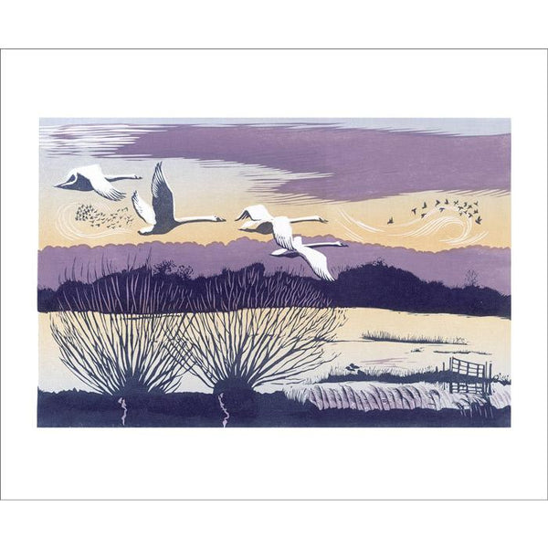 Winter Swans Linocut Card - Art Angels by Niki Bowers