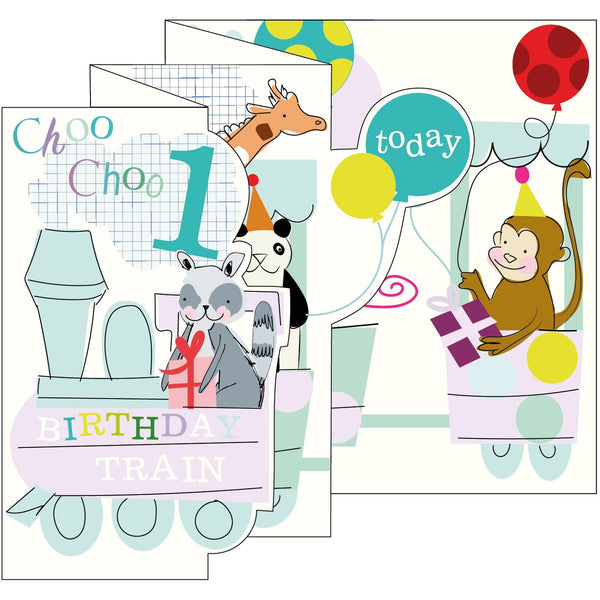 Train Zigzag Fold Out 1st Birthday Card - Caroline Gardner